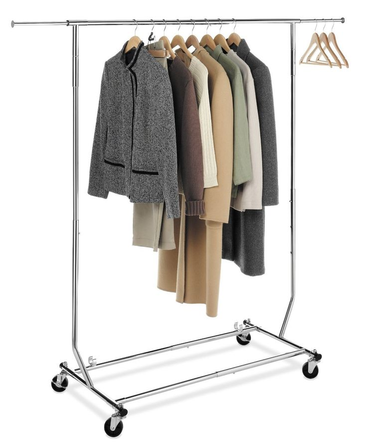 Small garment racks are the solution to your problem. They provide instant storage for those items that need to be suspended from hangers.