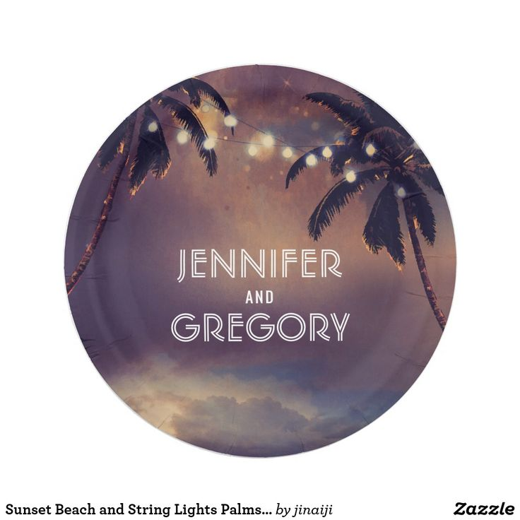 Sunset Beach and String Lights Palms Wedding Paper Plate Romantic purple seaside sunset and string lights palms wedding paper plates
