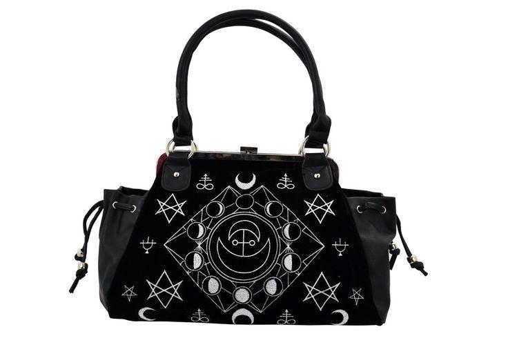 Witchcraft Moon Cycle and occult symbols Black Velvet Gothic Handbag