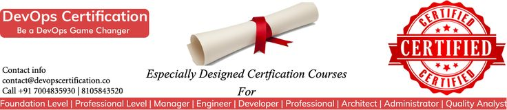 DevOpsCertification.co provides DevOps Certified training program for software and IT professionals which includes Foundation level, Professional level, Engineer, Developer, Manager, QA's and Administrator Certification.  #DevOps #Certified #Training #Certification #Online #Classroom #Engineer #Manager #Administrator  #Architect #DevOpsCertification #DevOpsCourses #DevOpsTraining #DevOpsCertified #DevOpsCertifiedCourses #Pune