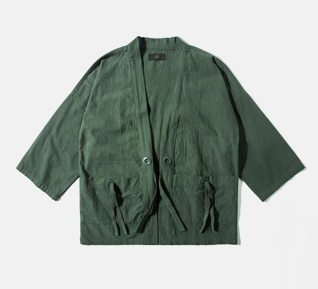 Cheap jacket army, Buy Quality jacket army green directly from China jacket cotton Suppliers: Japanese Style Men Three Quarter Sleeve Spring Jacket Cotton & Linen Streetwear Drop Shoulder Design Kimono Jacket Army Green