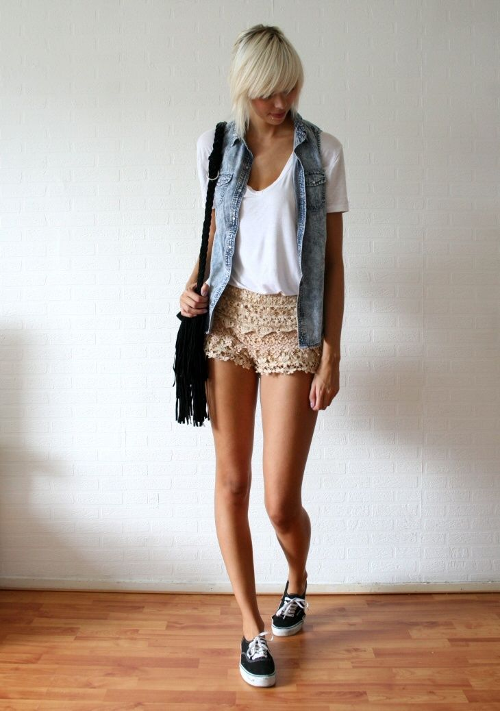Lace shorts and denim vest with black vans | Black Vans ...