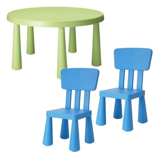 Toddler Chair And Table Set Ikea: Ikea Mammut Children's 3 Pcs, Dark Green Table And 2 Dark