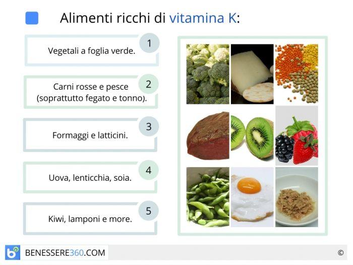 Alimenti ricchi di vitamina k