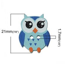 50 PCS Mixed Colors Lovely Owl Shape Two Hole Wooden Buttons 21mmFor DIY(China (Mainland))