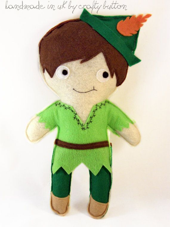 Peter Pan plush toy  felt toy  Disney by TheCraftyButtonUK on Etsy, £13.00