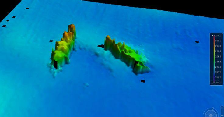 Épave 3D de l'Oakton perçu par un sondeur multifaisceau.