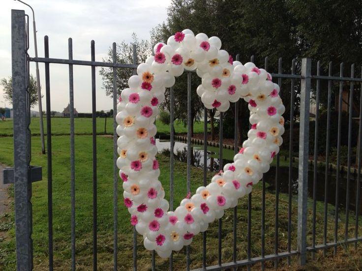 Ballonhart met echte bloemen Gerbera's