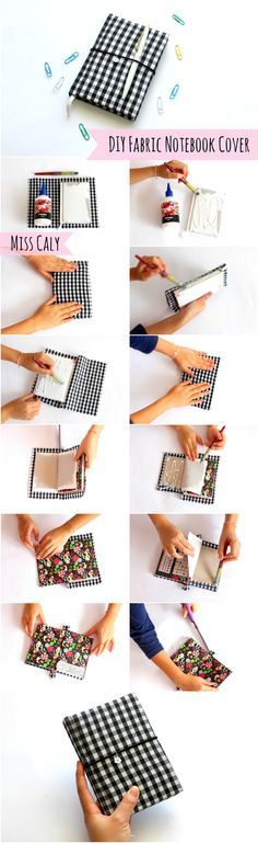 Step by step tutorial on how to make a DIY fabric notebook cover! - By Miss Caly