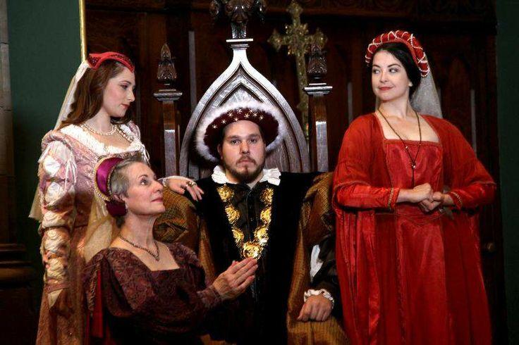 Britt Byrd as Kathryn Howard, left, Wesley Paine as Katarina of Aragon, Antonio P. Nappo as King Henry VIII and Sara Gaddis as Anne Boleyn in 'Royal Gambit: Henry VIII and His Six Wives.' / Karen Rogers