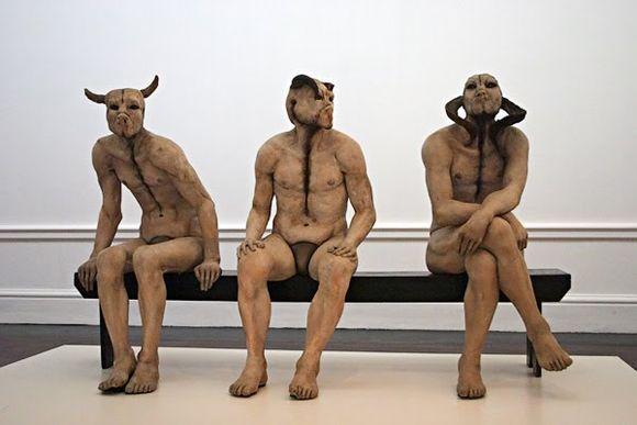 Jane Alexander - Butcher Boys - 1985-86. Sculpture using plaster, bone, horn, oil paint, wood.
