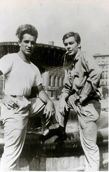 Jack Kerouac and Lucien Carr. Aside from Kerouac's smoldering good looks, I hadn't realized Carr — center of the notorious David Kammerer stabbing of the Beat Generation heyday — is the father of Caleb Carr, author of The Alienist.