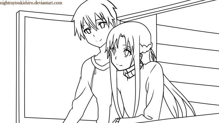 Sword art online kirito and asuna coloring page coloring for Sword art online coloring pages