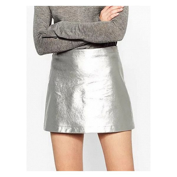 Silver High Waist Metallic Pencil Mini Skirt (£16) ❤ liked on Polyvore featuring skirts, mini skirts, white short skirt, high waisted pencil skirt, white mini skirt, short mini skirts and metallic mini skirt