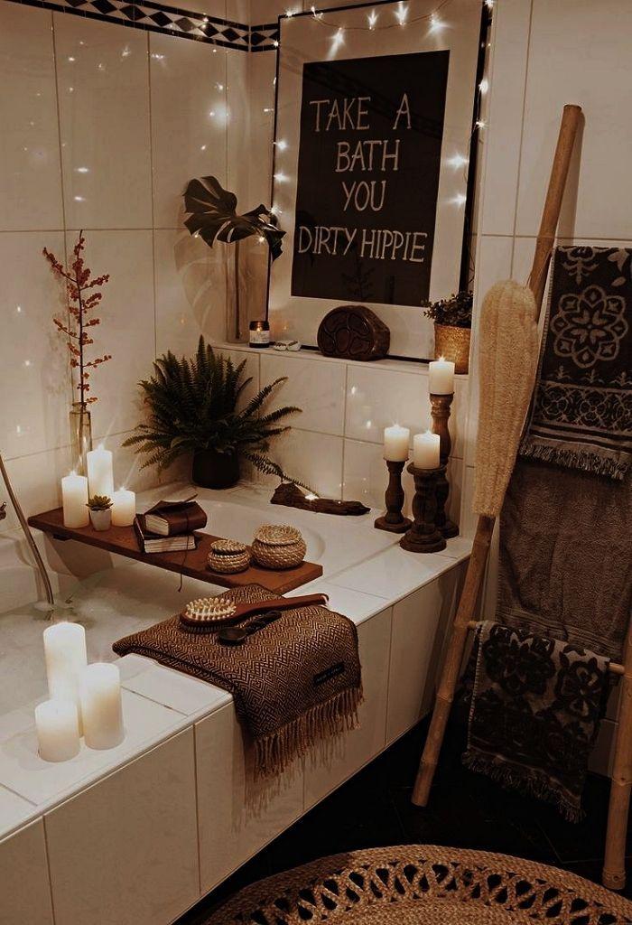 Inspiration For A Pinterest Bathroom With Bohemian Chic And Zen Decor Farmhouse Bathroom Art Farmhouse Bathroom Zen Decor
