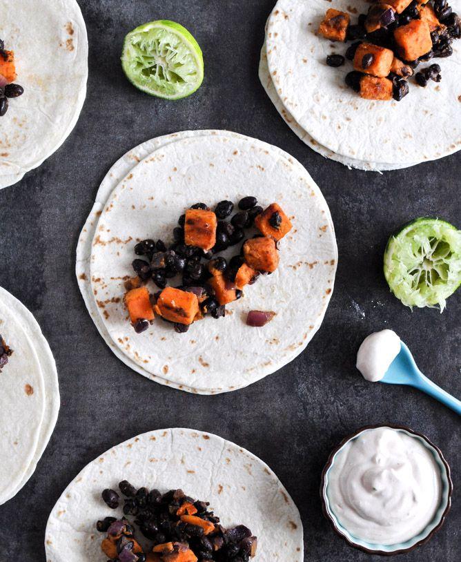 smoky sweet potato & black bean tacos (add avacado for an extra boost ...