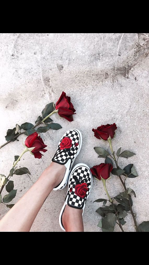 Checkered Slip On Vans Rose Embroidery Shoes Sale Code