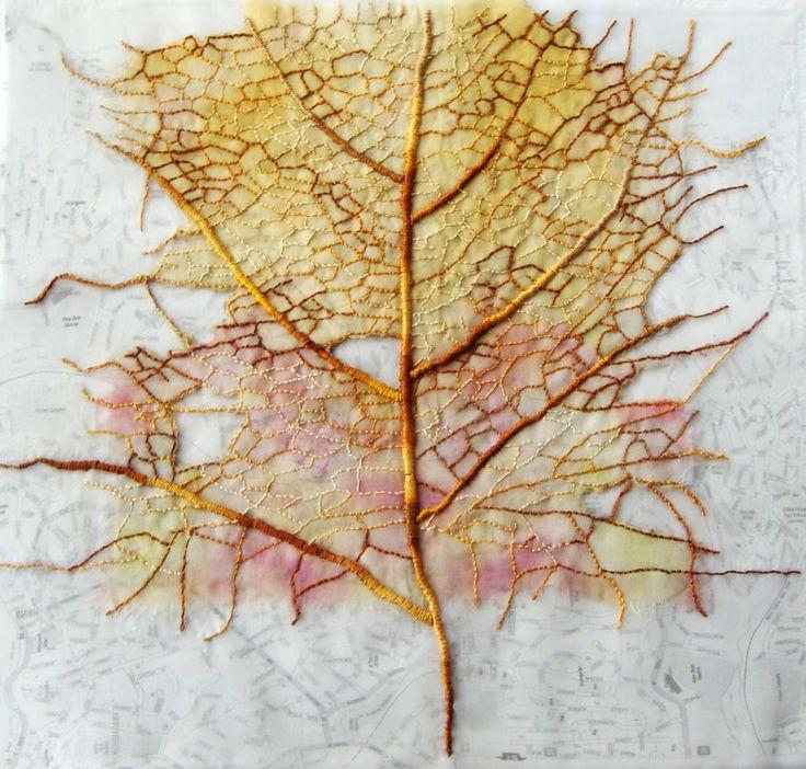 silk organza, print, stitch. Leaf 1 by Ailie Snow