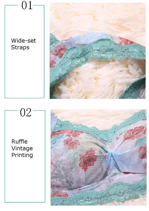 Cozy Floral Blooming Pattern Vintage Printing Wireless Lace-trim Thin Sleeping Bra