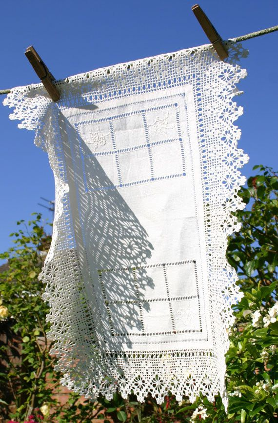 White Linen Tray Cloth with Crochet border and Drawn Threadwork