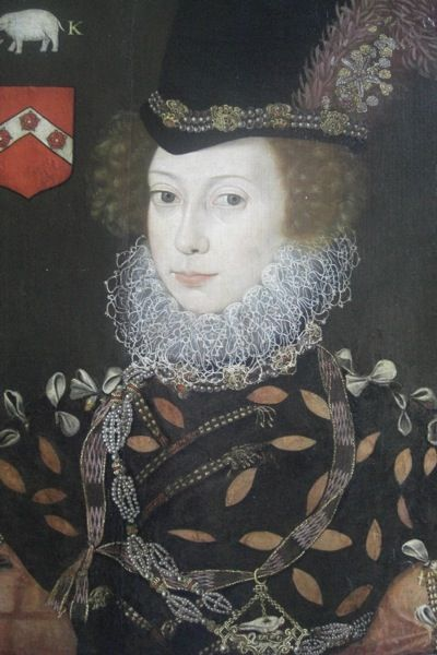 """Lettice Knollys, cousin/frenemy of Elizabeth I, great niece of Anne Boleyn, granddaughter of Mary Boleyn. died at 91, a daily exerciser, having outlived all of her children. Elizabeth I once called Knollys a """"she wolf."""""""