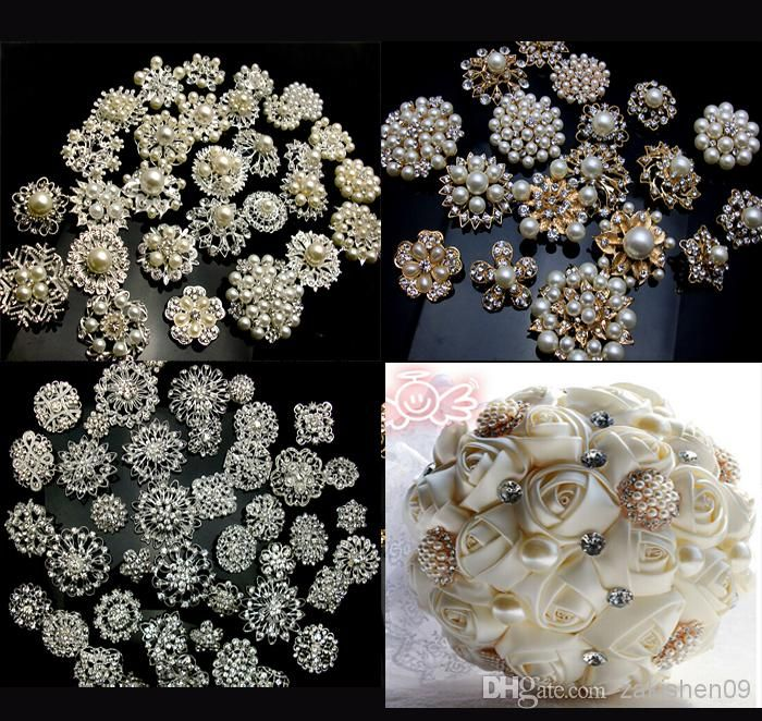 Wholesale Brooches - Buy 20P SILVER / GOLD X Mixed Bulk Wedding Bridal Decoration Silver Colour Flower Crystals Brooches Brooch Bouquet Rhinestones 001, $0.89 | DHgate.com