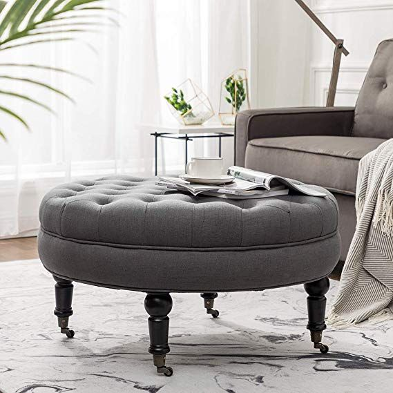 Amazon Com Simhoo Large Round Tufted Lined Ottoman Coffee Table With Casters Grey Upholstery But Ottoman Coffee Table Coffee Table With Casters Ottoman Coffee