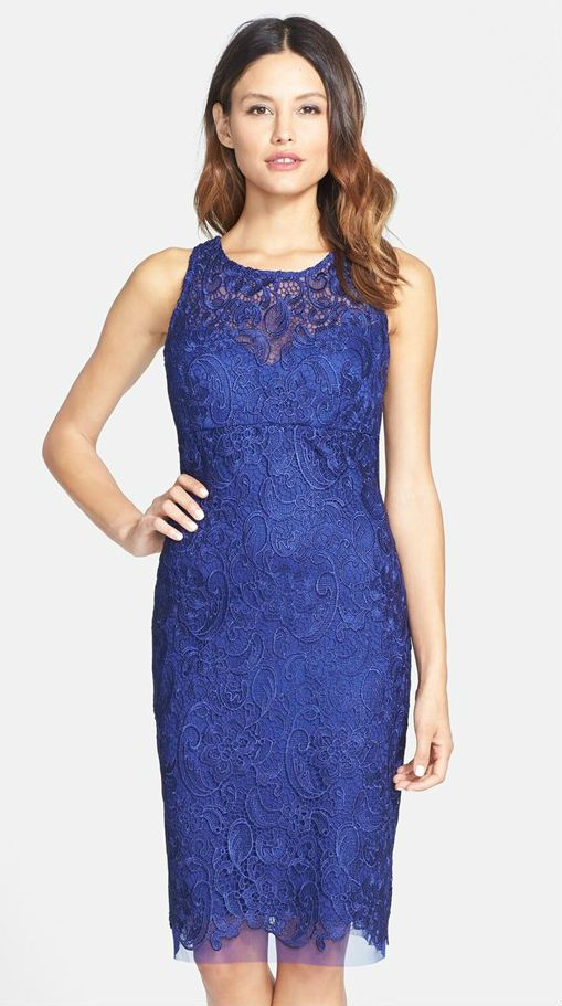 Beautiful Wedding Guest Cocktail Dress In Cobalt Blue Lace