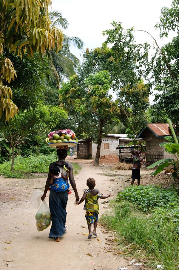 Look at all those mangoes so impressed by the strength and balance as shown by this mother in Sierra Leone. Photo by Annabel Symington.