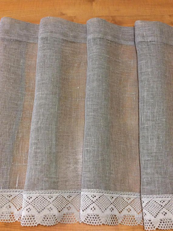 Burlap curtains, Gray curtains panels, Linen curtains panels, Cafe curtains, Kitchen curtains, Curtain valances, Rustic Curtains, Linen drapes Linen kitchen curtains with lace ideal for giving romantic atmosphere. Windows curtains panel are ideal as bathroom curtains. Linen flax absorb