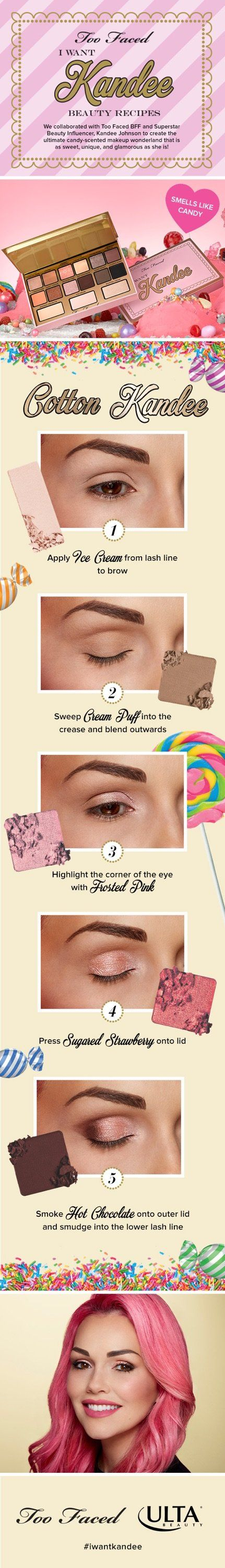 Step into your own beauty dream world with this delicious blend of Kandee's most coveted eye looks. Includes her signature beauty recipes look book so you can create the looks, just like Kandee! Shop the Too Faced I Want Kandee exclusively at Ulta Beauty.