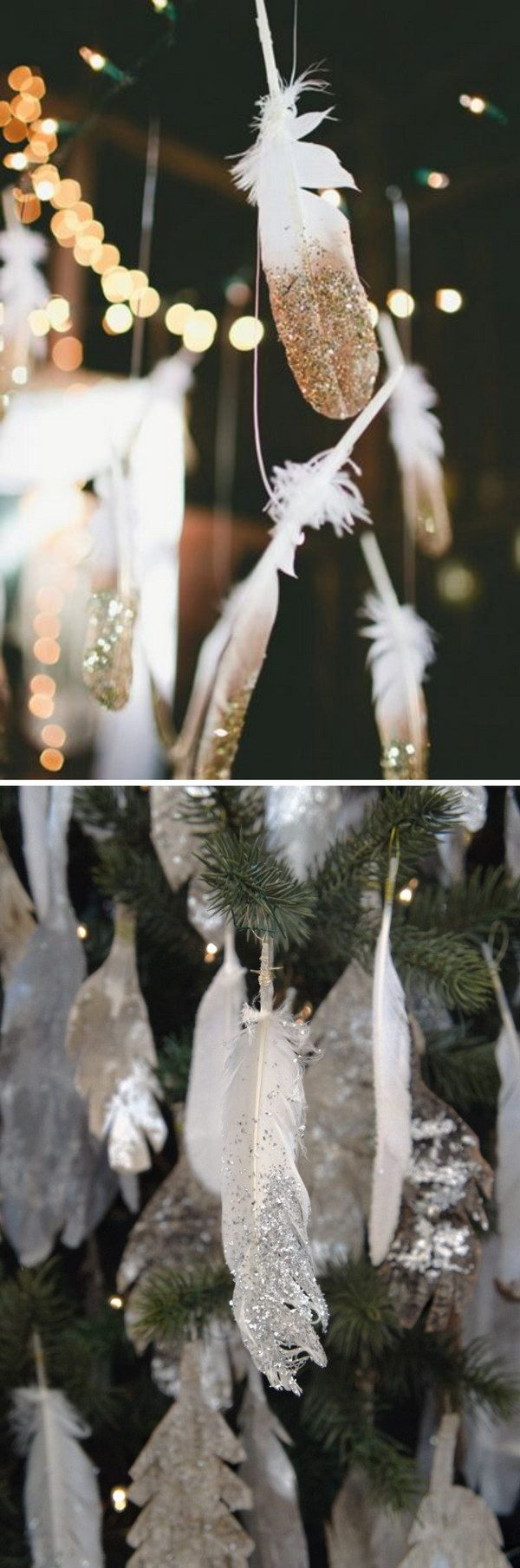 DIY Sparkling Dip Glitter Silver and Golden Feathers.