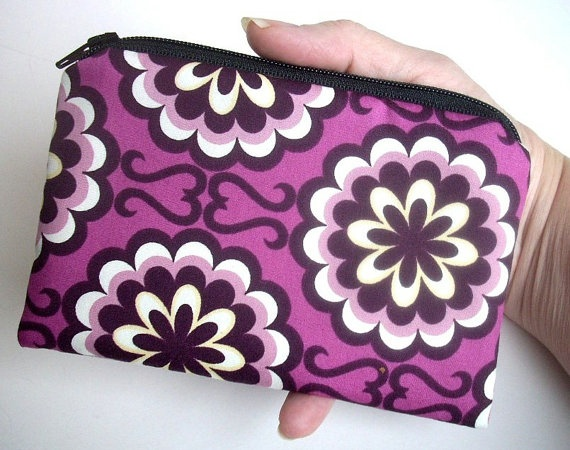 Fancy Purple Orchid Little Zipper pouch Padded coin purse Gadget Case by JPATPURSES