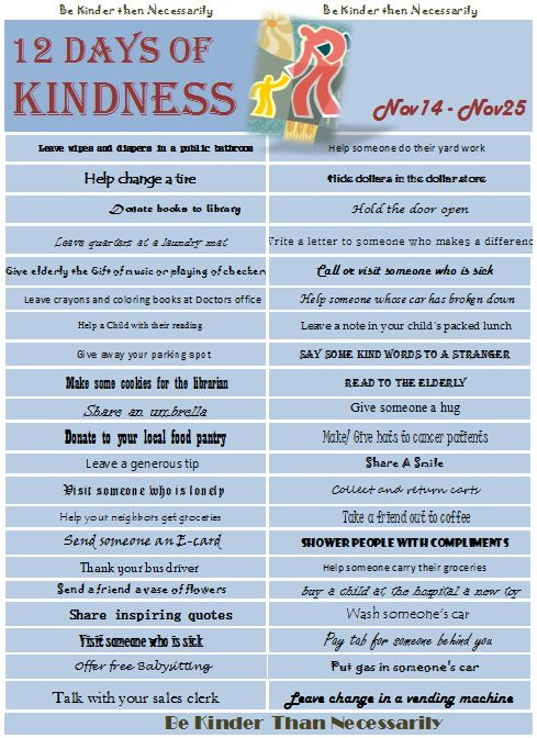This is a great list of simple acts of kindness you can do for others.