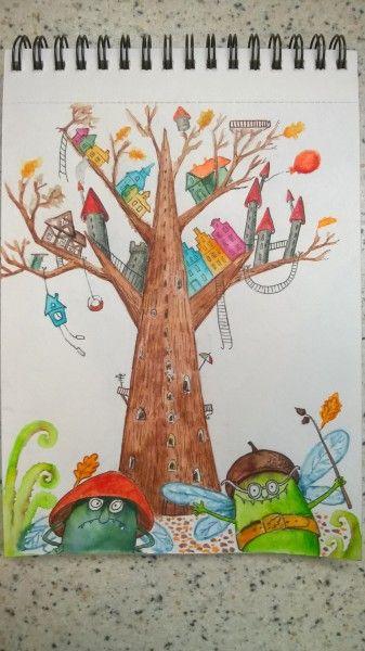 День 3 - показываем Дерево и рисуем Роботов! - Elina Ellis Illustration Page 4