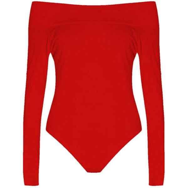 Womens Plain Boat Neck Off Shoulder Long Sleeve Elastic Bodysuit Red ($9.99) ❤ liked on Polyvore featuring red