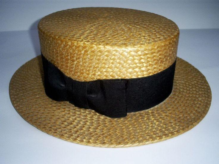 SUPERB 1920s VINTAGE FALCON MAKE BRITISH STRAW BOATER/FANCY DRESS HAT