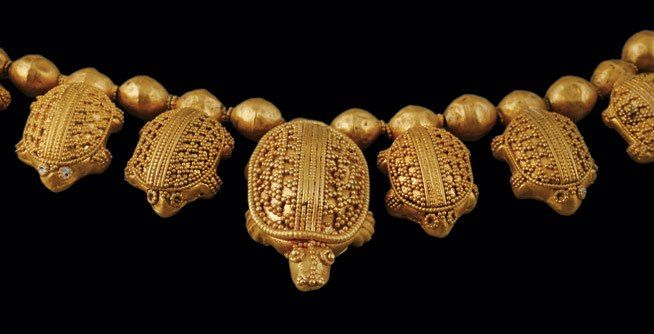 A gold necklace with turtles was one of five necklaces found on the body in one of the graves discovered at Vani. The Colchians apparently loved jewelry. In ancient geography, Colchis or Kolkhis was a Georgian state kingdom and region in Western Georgia. Today, this necklace should be seen as coming from the independent Republic of Georgia, near the Black Sea.