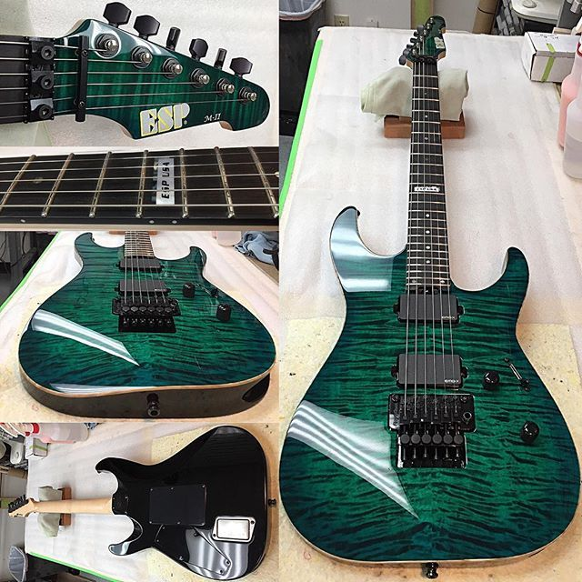 ESP USA Emerald Green Sunburst M-II with Flame Maple top, natural binding, Ebony fingerboard, EMG 81X and 85X pickups, Floyd Rose Original locking bridge and nut, Sperzel tuners, and Schaller strap locks. #madeincalifornia #madeinusa  Woodworking/Build Cred: Ed Laing and @jamin76  Buffing Cred: @robbie_heidelberg  Assembly Cred: @gregorio1973  Paint/Photo Cred: @spongebrick