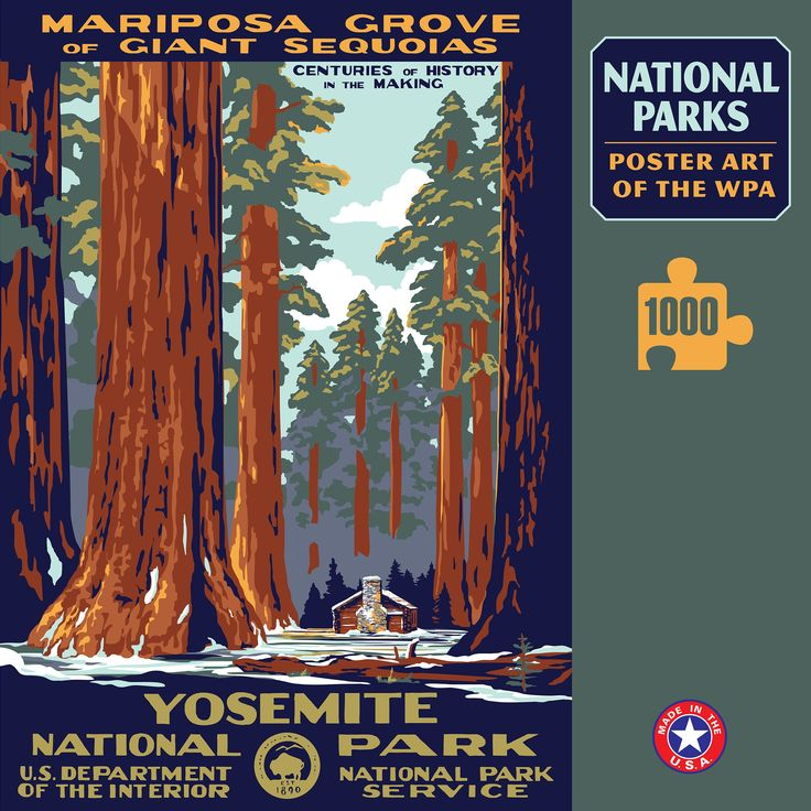 Art Deco National Park Posters: Yosemite National Park Poster Art Of The WPA 1000 Jigzaw