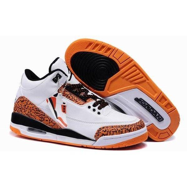 New Air Jordans 3 Retro White/Black/Orange ($257) ❤ liked on ...