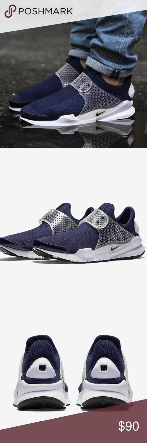 NIB * SOCK DART Men's Running Shoes The Nike Sock Dart Unisex Shoe knocks your socks off with a soft upper that surrounds your foot in comfort and just enough structure to add stability.  SECURE, SOCK-LIKE FIT  Flexible, breathable mesh helps keep your feet cool and comfortable, while the molded midfoot strap with adjustable closure  povides a personalized fit.  SOFT CUSHIONING Full-length Phylon foam underneath your foot offers lasting, cushioned comfort.  Rubber outsole for durability Flex…
