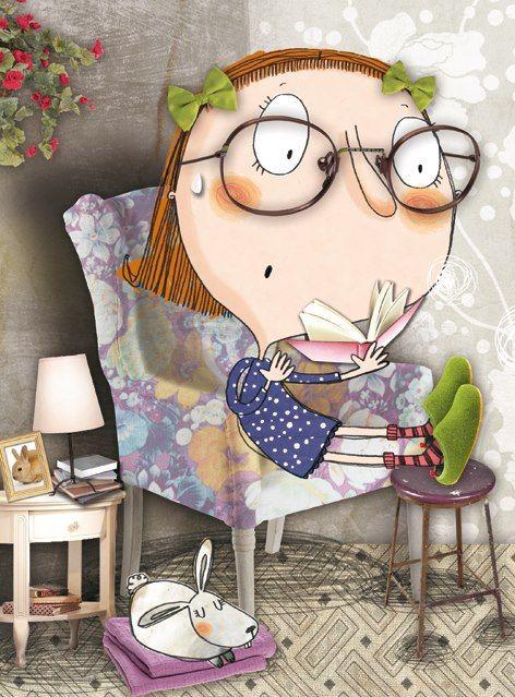 Reading with air spring / Lectura con aires de primavera (ilustración de Ester Llorens).