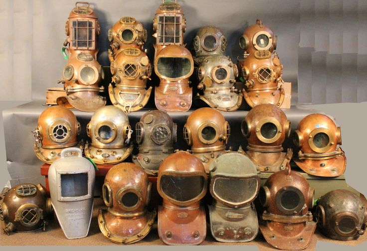 My Godfather's helmet collections - some of which he used.   Auction: huge collection of diving gear including 28 authentic helmets  featuring the diving collection of Tom Hering, gleaming brass nautical antiqu...