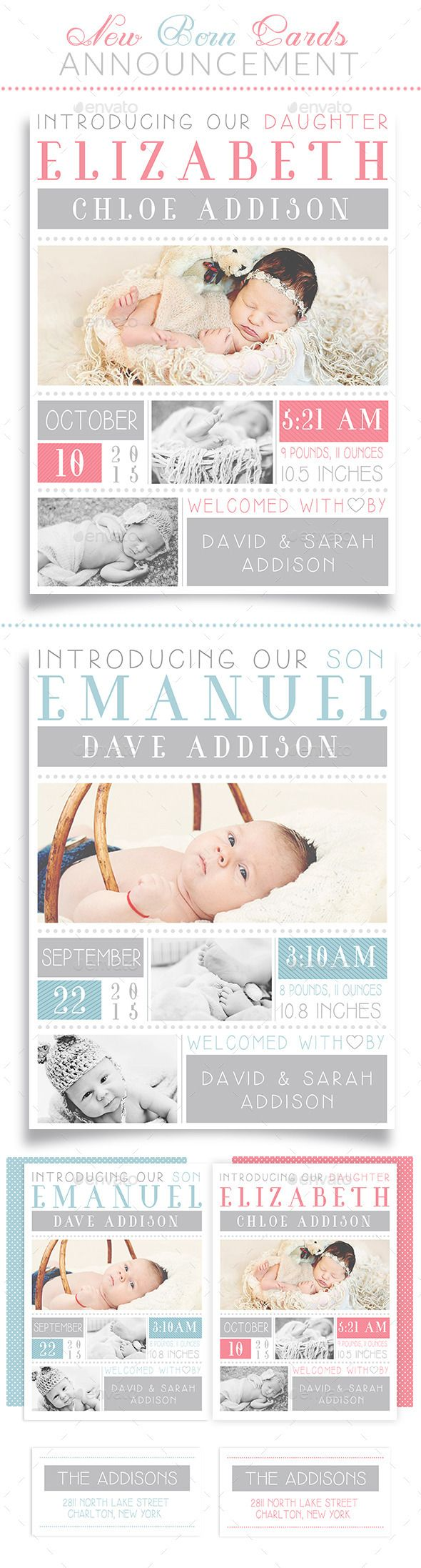 New Born Cards Announcement Template