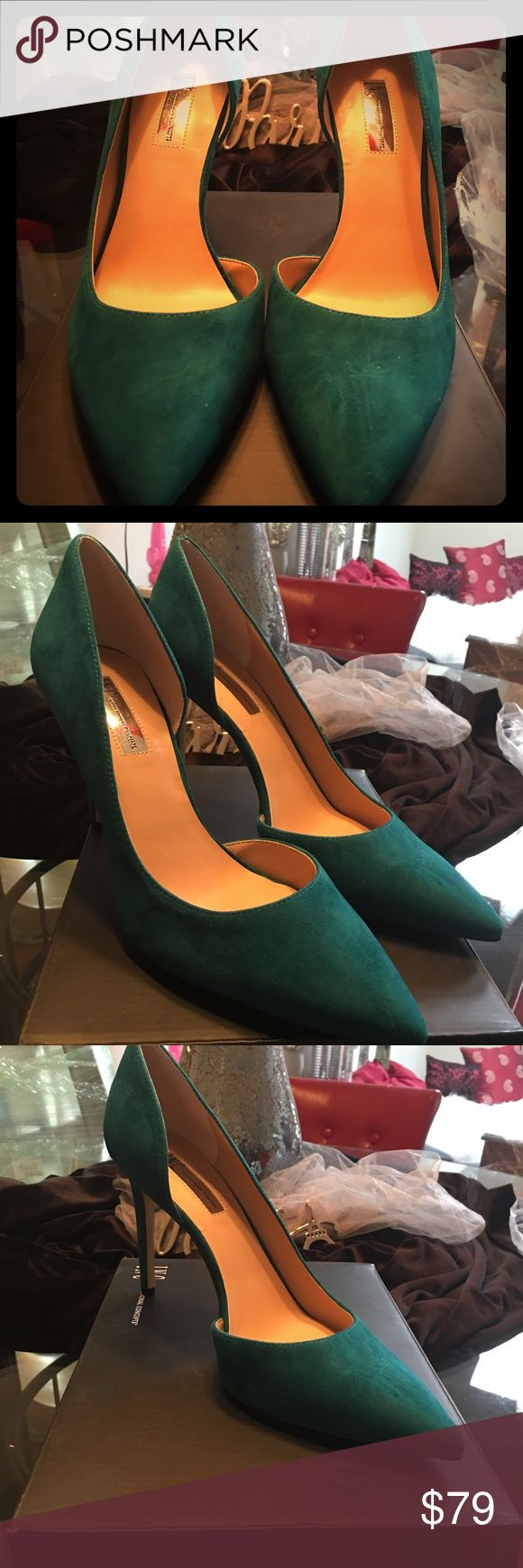 """INC Teal Suede D' Orsay Pumps (Size 10) Create a chic look with this d'Orsay pump that is power packed!! This exquisite color is SOLD OUT in this size and is the most amazing Teal green I have ever seen this season! This pump is one of those basic staples that every woman MUST have..!!!  Brand: International Concepts (INC) Size: 10 Heel Height: 3-3/4"""" Condition: Brand New, Never Worn Color: Teal Green Material: Suede Comes with original box! INC International Concepts Shoes Heels"""