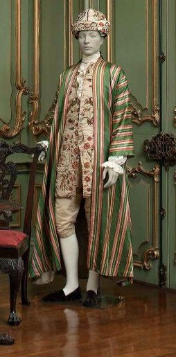 Striped Banyan c.1760s thrown over a flowered waistcoat & silk breeches. At-home wear for the layabout Aristo. Don't you just love the matching turban?