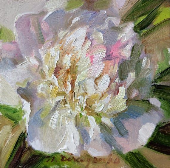 Gift Floral Painting Framed For Host White Peony Wall Art Tiny Painting Flowers Original Romantic Floral Oil Paintings Peony Art Floral Painting