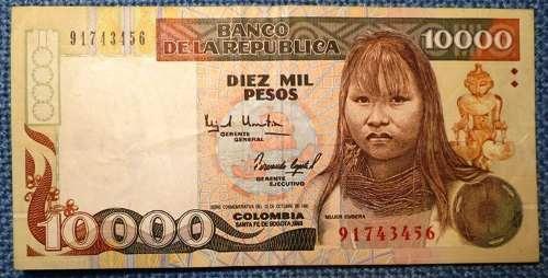 10.000 Pesos 1993 Mujer Embera Uno De Los Mas Bonitos Billet