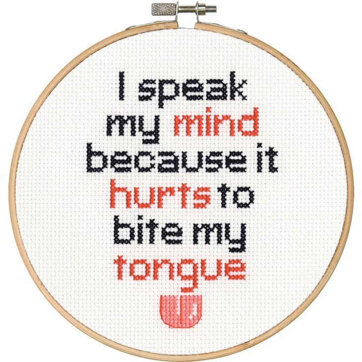 "Speak My Mind Counted Cross Stitch Kit-6"" Round 14 Count"